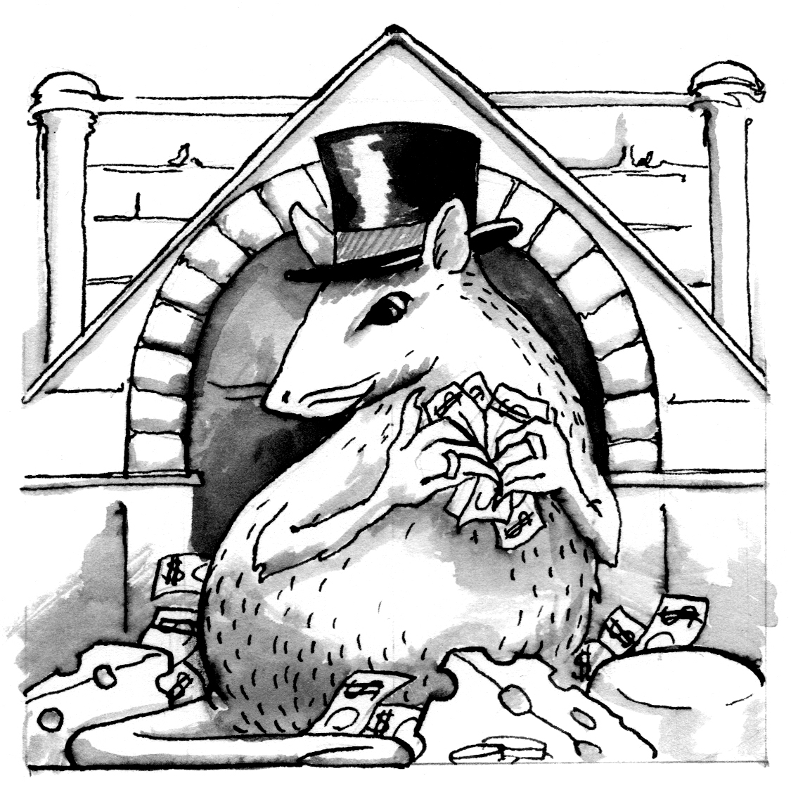 A grayscale illustration of a rat in a top hat holding cash. Behind the rat there is a building, and surrounding the rat is money and cheese. Illustration by Artemesia Trapeze.
