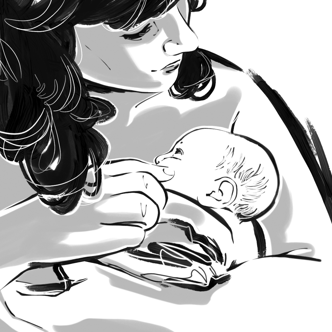 A grayscale illustration of a light-skinned person looking down at the infant they're holding. They have long, dark hair, and we can see the left side of their face. They are touching the baby's face, and the baby is looking up at them. Illustration by Victoria Allen.