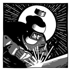 A black and white illustration of a welder with a small crown above their head. The welder has on a welding mask and is dressed in black. They are looking down and welding something in front of them, and there are white sparks coming off of it. There is a tiny gray crown floating above their head. The background is black. Behind the welder is a white circle with rays of white light coming off of it, like this person is holy. Illustration by Luke Howard.