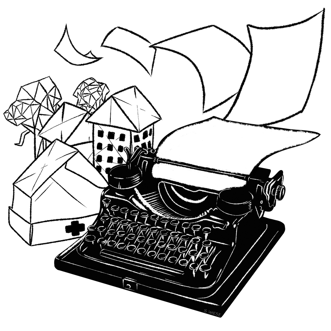 A black and white illustration of a black typewriter with white pages flowing out from it toward origami structures nearby. The pieces of paper are flying to create these structures. To the left of the typewriter is a medical tent and behind the medical tent is what looks like an apartment building. Behind the apartment building are more structures that are less developed. Illustration by Sadie Wiese.