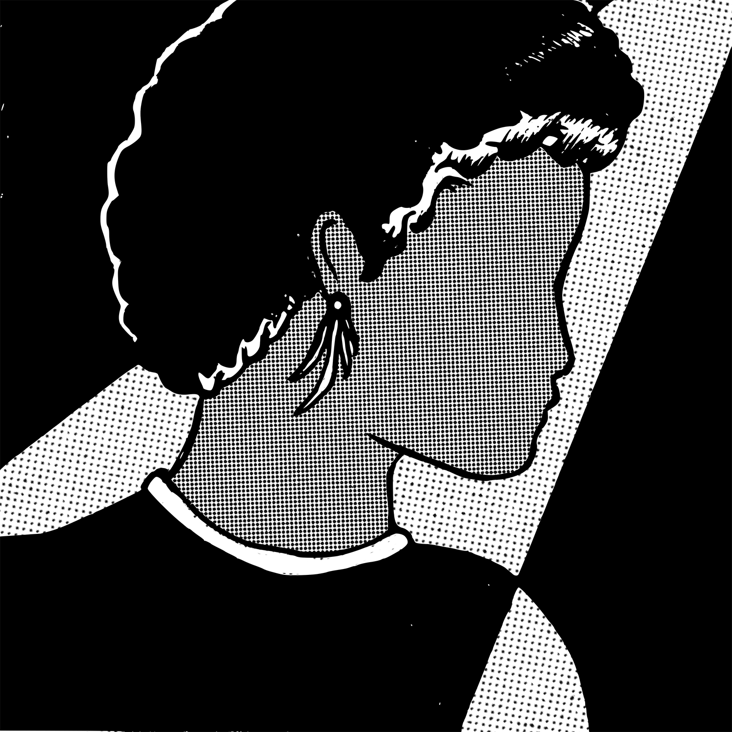 A grayscale illustration of a dark-skinned person with no facial features looking to the right of the frame. Their face is shaded using dot work. Their hair is in a short afro and they're wearing white dangling earrings. The background is black, and there's a ray of white that resembles a spotlight coming from the top right corner. This spotlight is also shaded with dot work, but it's much lighter. Illustration by Ruth Mascelli.