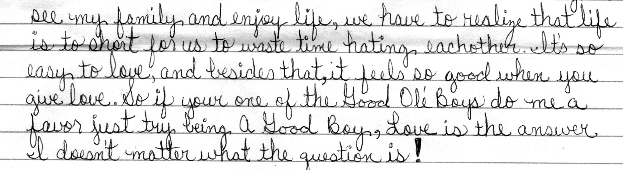 This is an excerpt of the cursive handwriting on lined paper from which the article is transcribed.