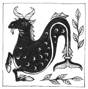 A black and white illustration of a creature that has the head of a goat and the tail of a sea creature. The creature's torso is black, with tiny white crescent shapes throughout. It has speckled white horns and a goatee. Its front arms has hooves and also fins. The tail resembles a mermaid's tail. Underneath the tail and to the right of it are branches with white leaves. Illustration by Artemesia Trapeze.