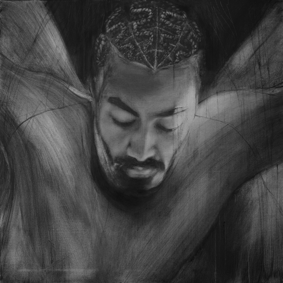 Album cover for Song of Sage: Post Panic! by Navy Blue. It's a grayscale illustration of a dark-skinned person looking down. We can only see their head and upper torso, but their arms appear to be outstretched. Their hair is worn in braids that curve, and they have a goatee. The illustration looks like it's done in charcoal, so their features on their torso and behind them are smeared. Artwork by John Singletary.