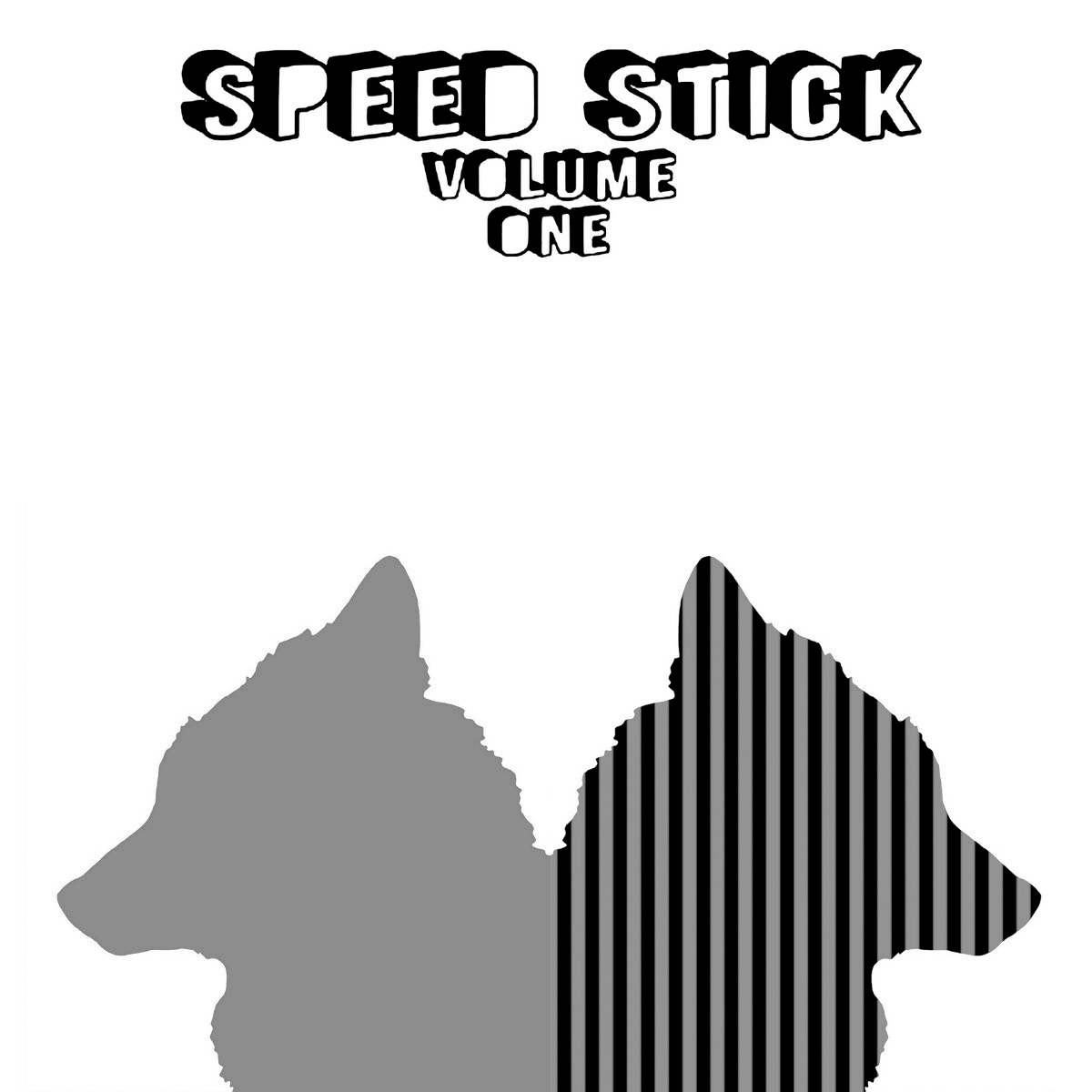 """Album cover for Volume One by Speed Stick. It's a grayscale illustration of the silhouette of two wolves mirroring and facing away from each other. The wolf on the left is light gray, and the wolf on the right is black and white with vertical stripes. At the top reads """"Speed Stick / Volume One"""" in letters meant to look 3-dimensional. Artwork by Charles Chace."""