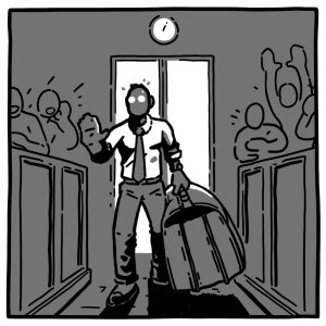 "A grayscale illustration of a person walking into a courtroom with a giant, overstuffed briefcase. Their face is gray and their facial features are engulfed by shadow. Their eyes are white holes, so they appear like a zombie. They're holding their hand up as if to say ""stop"" as they enter the courtroom. The briefcase they're holding is almost half their size. There are simplistic outlines of people in the courtroom cheering. They are the same color gray as the benches and the walls: a fixture of the background. Illustration by Luke Howard."