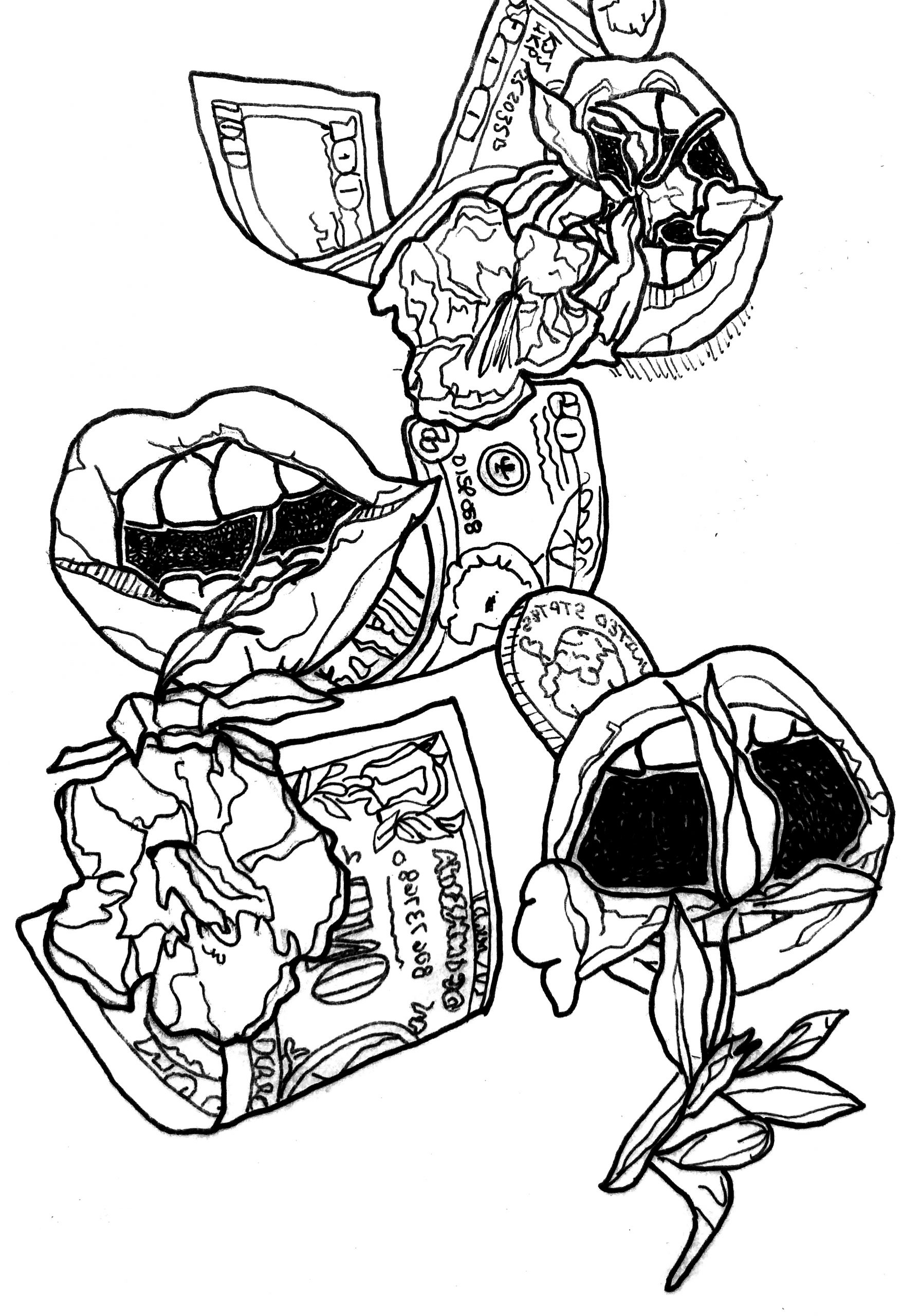 A black and white illustration of a collage of mouths, money, and flowers. The mouths are all open and have flowers and leaves coming out of them to varying degrees. There's a 100 dollar bill, a 20 dollar bill, a one dollar bill, and a quarter floating and falling. Illustration by Rachel Speck.