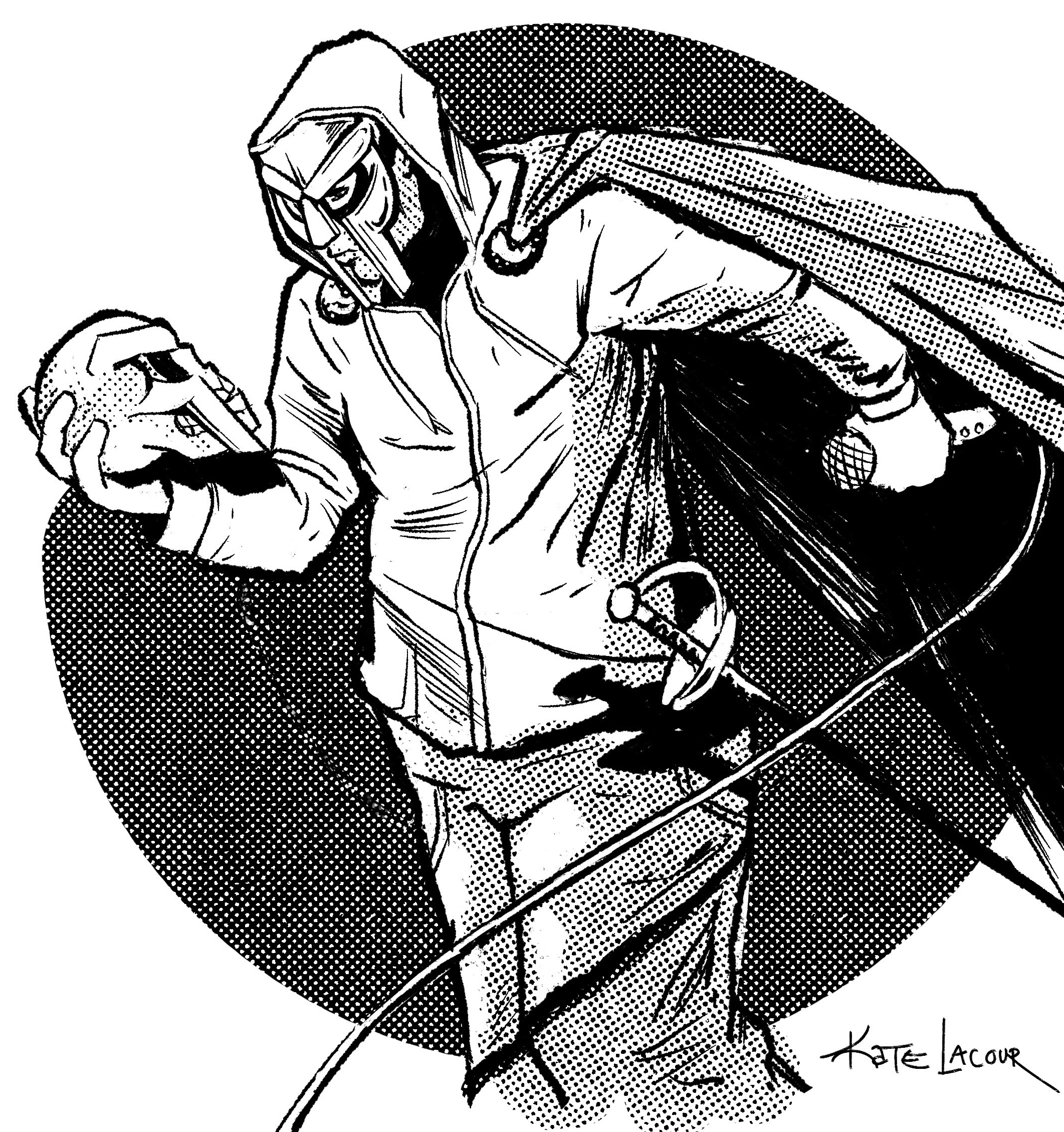 A black and white drawing of MF DOOM holding and looking down at a skull with a mask the same as his. The mask he's wearing covers his eyes and comes down in two parallel lines on either side of his mouth. The skull in his right hand is only visible from the side, but we can see it has the same design as his mask. He's wearing a cape, holding a microphone, and has a sword attached to his hip. The shading is all done with dots, and there's a dark circle behind him, like he's a comic book character. Illustration by Kate Lacour.