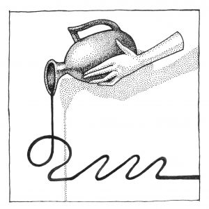 A grayscale drawing of a light-skinned hand pouring water from a vase. The hand is disconnected from an arm, and it's pouring from the top left corner. The vase is gray and shaded with dots. The liquid being poured forms a solid line that flows into a curving design at the bottom of the frame. Illustration by Artemesia Trapeze.