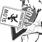 A grayscale illustration of a light-skinned person holding a bunch of traffic signs. We can see from their shoulders to the tops of their thighs, and they're facing the left of the screen. They're holding a stop sign, a slow children sign, and a yield sign. Illustration by Victoria Allen.