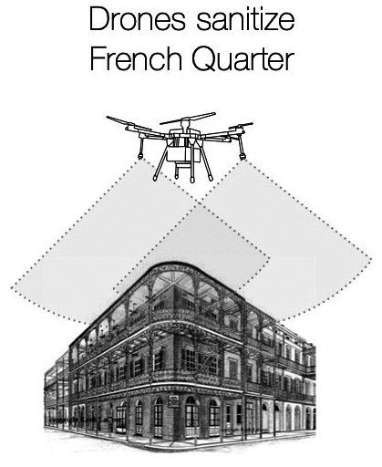 A grayscale diagram showing how drones could sanitize the French Quarter. There's an illustration of a small, white drone that is spraying something on an illustration of a building in the French Quarter. Whatever the drone is spraying comes down in a gray, triangular shape.