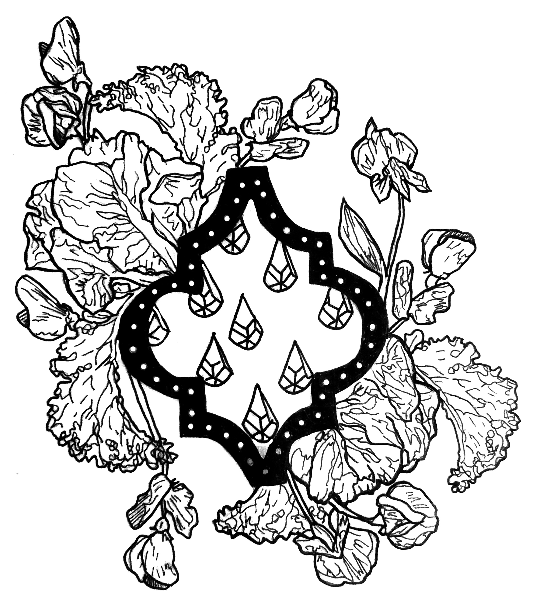 A black and white illustration of leaves growing around a black frame. The frame is black and has white dots. Inside the frame are individual leaves spaced apart. Outside of the frame there are overgrown leaves all around it. Illustration by Rachel Speck.
