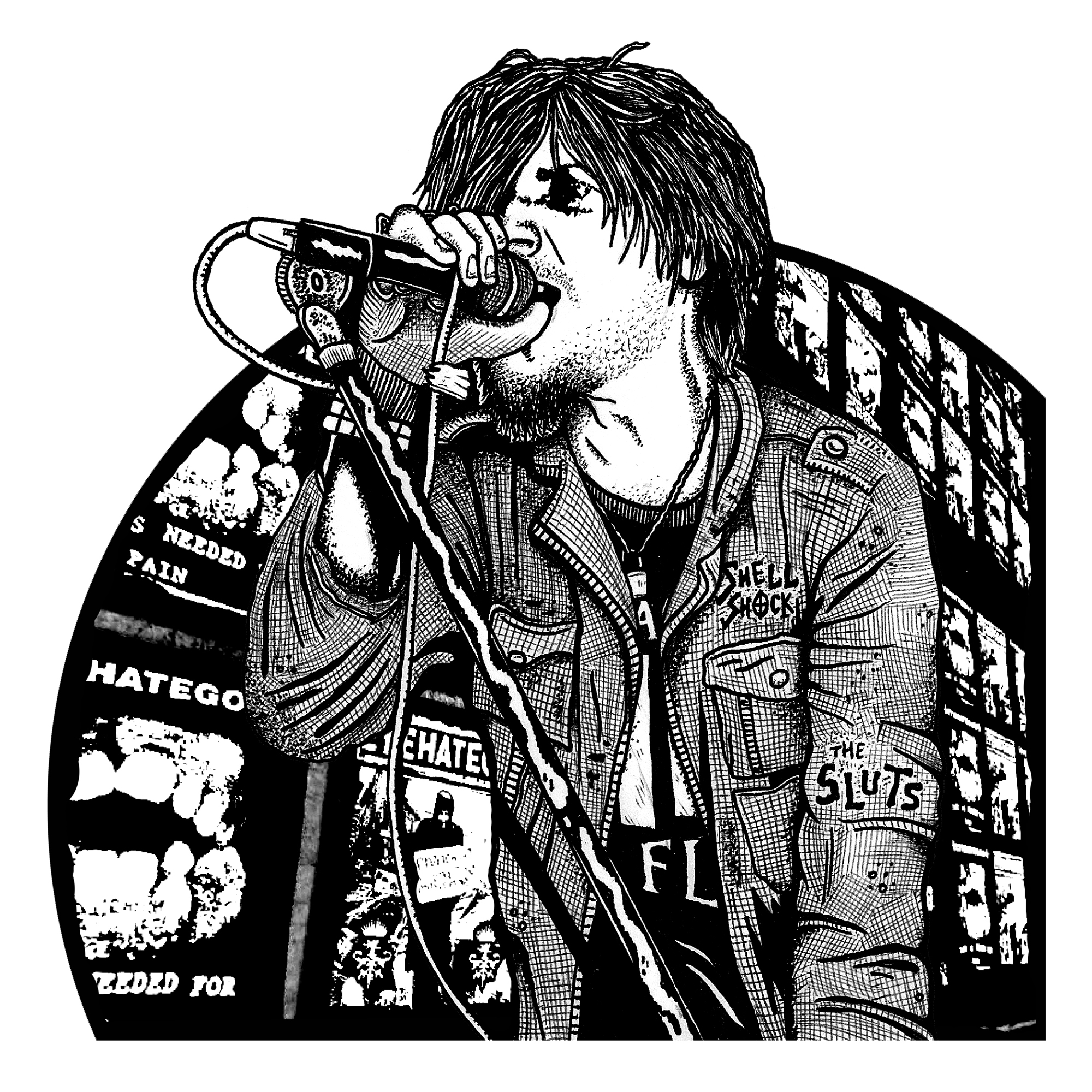 "A black and white illustration of Mike IX Williams singing into a microphone. He is light-skinned and has dark, shaggy hair. He has his right hand wrapped around the microphone and he's scowling a little bit. He's wearing a dark jacket that reads ""Smell Shock"" and ""The Sluts"" on it. Behind him are posters for Eyehategod, the band that he's in. Illustration by Bill Heintz."