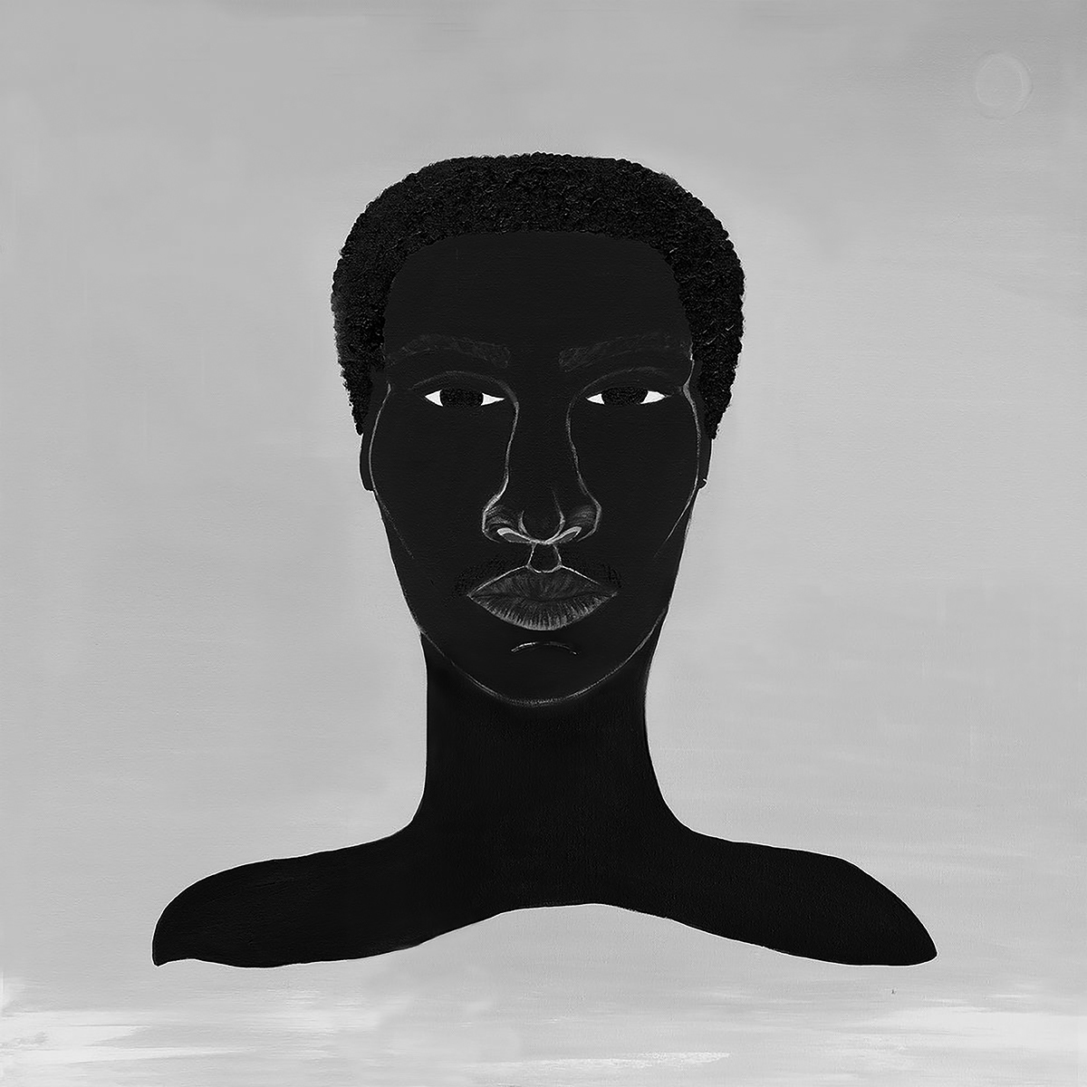 Album cover for For(e)ward by Made Kuti. It's a grayscale illustration of a dark-skinned person from the shoulders up. They are facing us and have a solemn expression. The background is a light gray.
