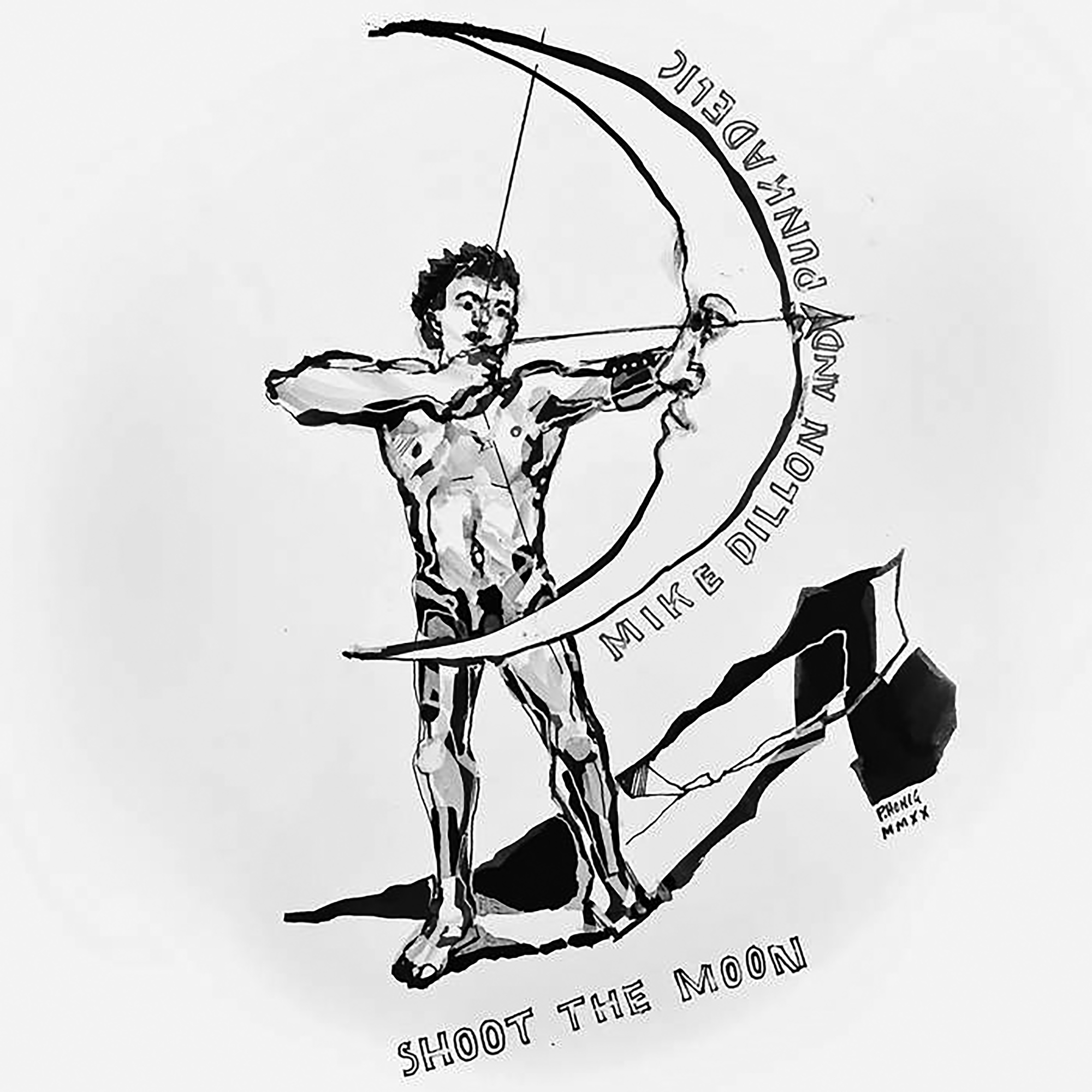 """Album cover for Shoot the Moon by Mike Dillon and Punkadelic. It's a black and white image of a person shooting a bow and arrow, and the bow is a crescent moon. The person isn't wearing clothes, and the moon covers their genitals. Along the curve of the moon reads """"Mike Dillon and Punkadelic"""" and below the person's feet reads """"Shoot the Moon."""" There's an abstract design beneath the person that seems to act as a shadow."""