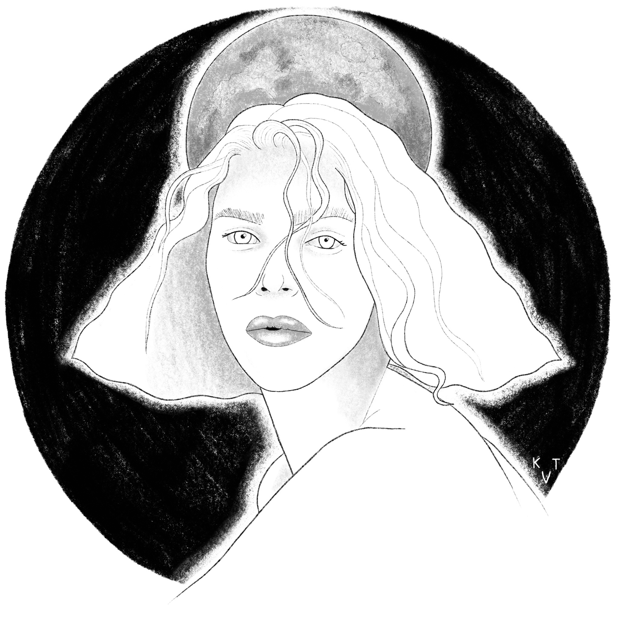 A black and white illustration of SOPHIE, with the moon behind her. Her eyes are white and her hair is curly with wisps of it falling in her face. There's a black circle surrounding her, with a gray moon above her head. Illustration by Kallie Tiffau.