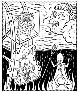 A black and white illustration of people on a ferris wheel being controlled by changing weather. The person in one cabin is being blown on by a cloud, and they're frozen in a block of ice, shivering with multiple layers on. The person in the cabin below them is a skeleton on fire, being lowered into hell while the Devil cheers nearby. Illustration by Ben Claassen III.