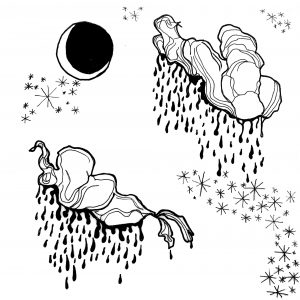 A black and white illustration by Rachel Speck. It's got a trippy vibe, two psychedelic clouds raining what look like blood because its dark water. There are stars around them that look like asterisks. In the top left corner is a crescent moon.