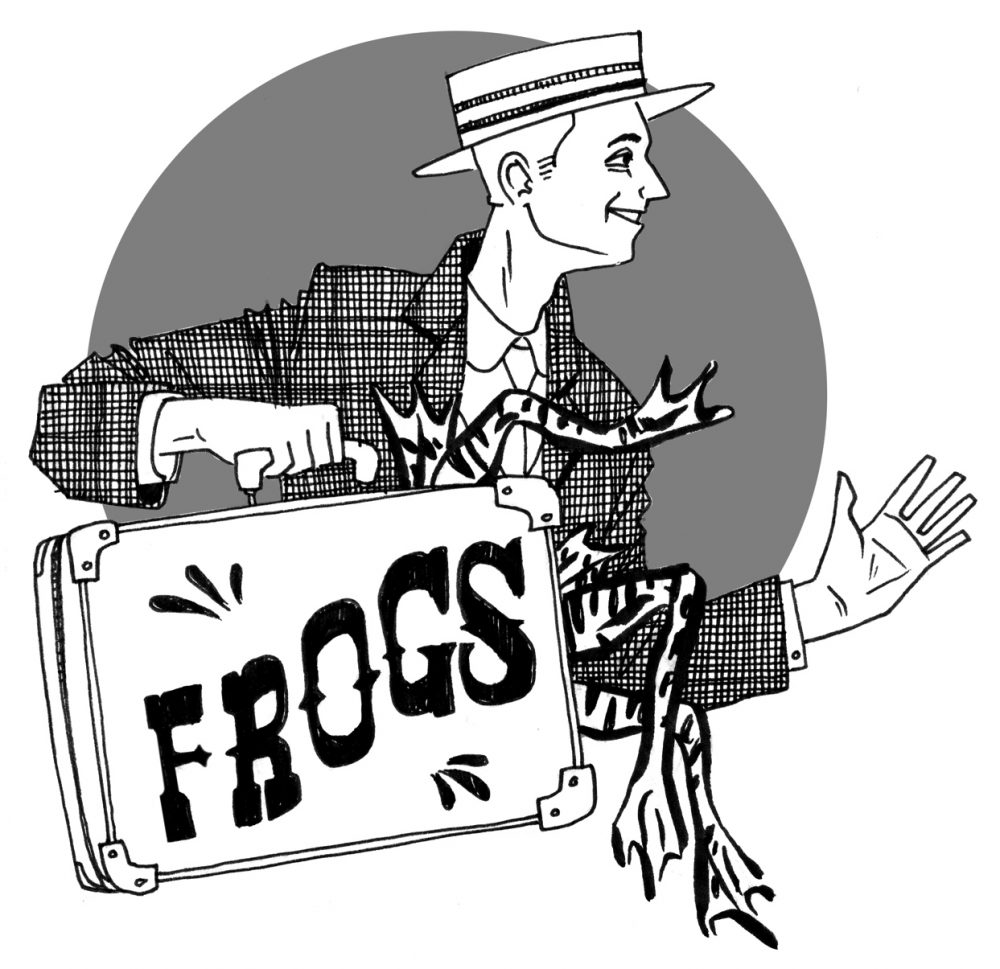 "A black and white illustration of a light skinned man in a tweed jacket holding a briefcase labeled ""FROGS."" The man is wearing a hat and is looking to the right and smiling. The briefcase has frog legs sticking out the sides of it. There is a gray circle behind the man, framing him like a cartoon. Illustration by Happy Burbeck."