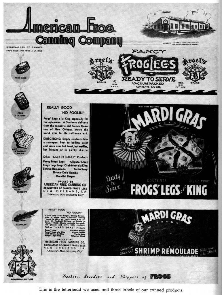 """A black and white advertisement for the American Frog Canning Company. There are many advertisements on the same page, and the bottom reads """"This is the letterhead we used and three labels of our canned products."""""""