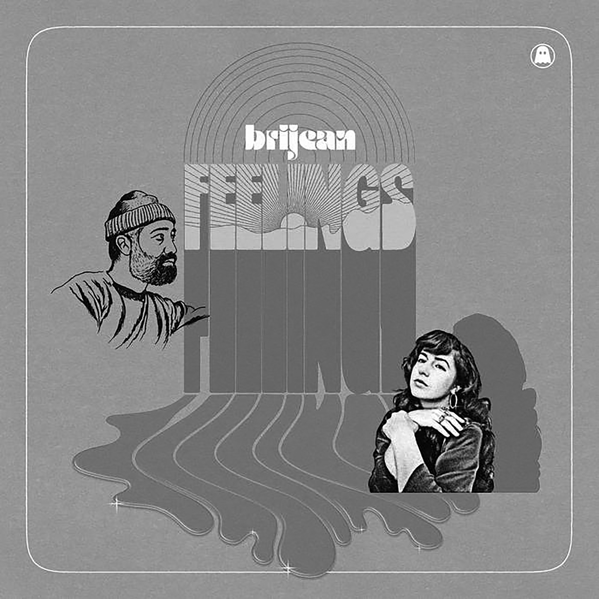 """Album cover for Feelings by Brijean. The background is gray and the center reads """"brijean"""" in white and below it """"FEELINGS"""" with a sunset within the letters. On the left is a person with a beard wearing a beanie and looking right. On the right is person with long, dark hair holding their wrist and looking forward. There is a liquid oozing from the letters toward the bottom of the frame."""