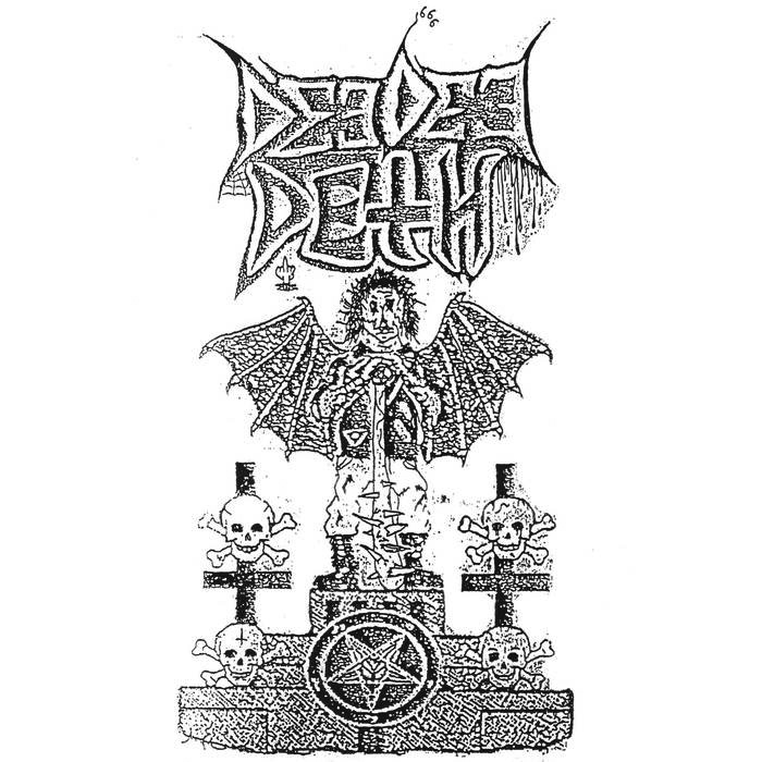 """Album cover for DD Deth by DD Deth. It's a black and white illustration of a winged, satanic creature surrounded by skulls and crossbones. There's a pentacle in the center of the stone that they're all on top of. The illustration style is grainy, and at the top reads """"Deedee Deth."""""""