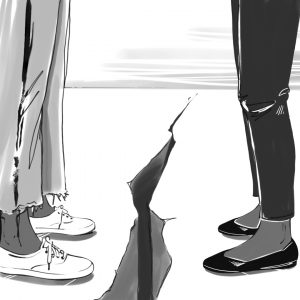 A grayscale illustration of two dark-skinned peoples' legs facing each other. We can see from their thighs down. The person on the left is wearing light jeans that are frayed at the bottom along with white tennis shoes, and the person on the right is wearing dark pants and black shoes. There is a crack in the ground between them. Illustration by Victoria Allen.