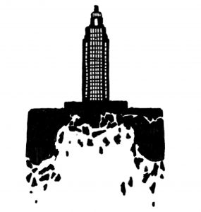 A black and white illustration of a tall building and the ground underneath it is hollowed out and crumbling. Illustration by Luke Howard.