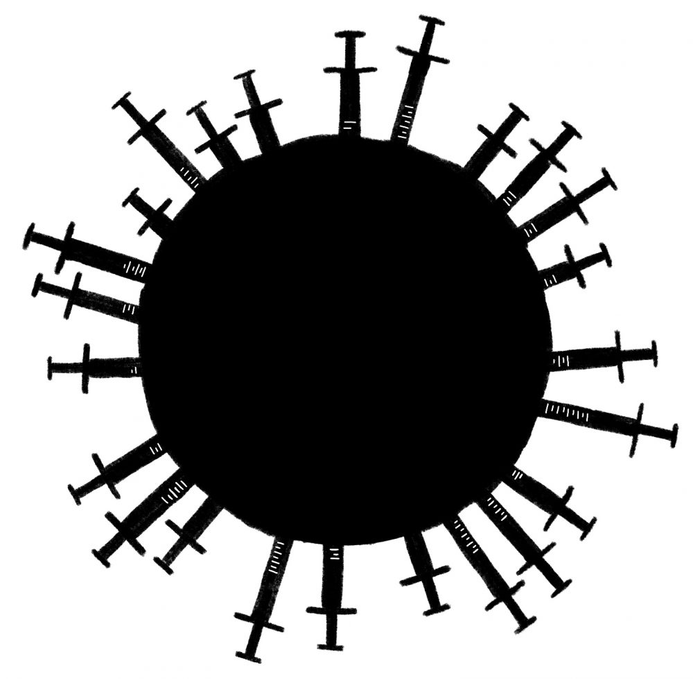 A black and white illustration of a solid, black circle with black needles injecting into it around the entire circumference. We can only see the bottom end of the needles. and it resembles the shape of a viral pathogen. Illustration by Luke Howard.
