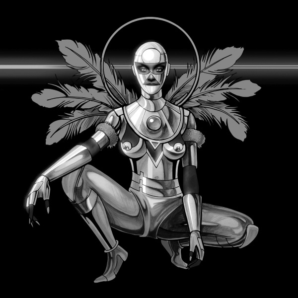 Album cover for Second Line by Dawn Richard. It's a grayscale illustration of a futuristic person dressed in a head-to-toe metal suit that has feathers coming out the back of it. The person is kneeling, and there's a ring around their head.