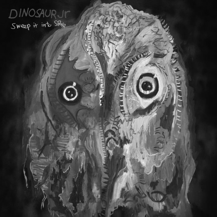 """Album cover for Sweep It Into Space by Dinosaur Jr. It's a grayscale painting of an abstract animals that resembles an owl. Its eyes are wide and circular, and those are the only features clearly defined. In the top left reads """"Dinosaur Jr. Sweep In Into Space."""""""