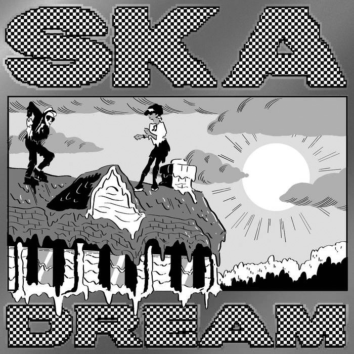 """Album cover for Ska Dream by Jeff Rosenstock. It's a grayscale illustration of 2 people on top of a roof. The roof seems to be covered in something, and the 2 people are standing on top facing each other. The sun is in the right of the frame, and there are clouds in the sky. At the top reads """"Ska"""" and at the bottom reads """"Dream."""""""