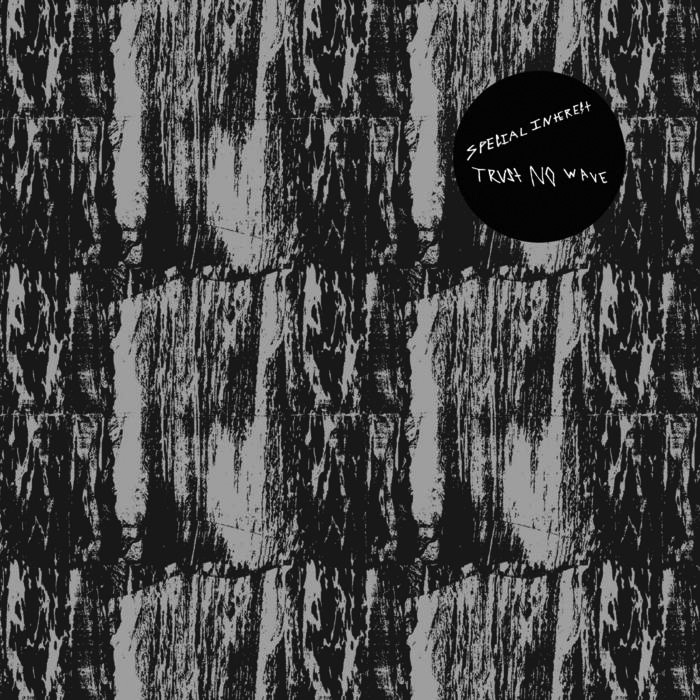 """Album cover for Trust No Wave by Special Interest. It's an abstract image of some sort of textured pattern. There's a black circle near the top right that reads """"Special Interest Trust No Wave."""""""