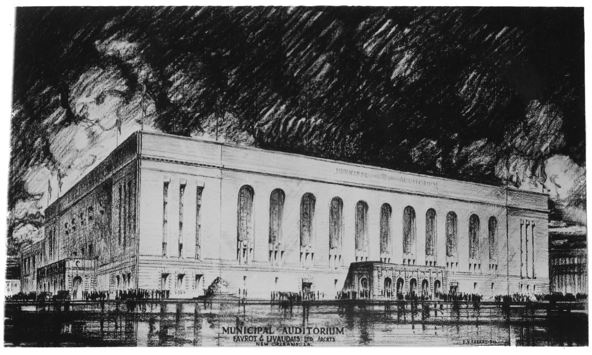 A grayscale illustration of the Municipal Auditorium rendered by The Charles L Franck Studio Collection at the Historic New Orleans Collection. It shows the long, light building, and the sky around it is shaded dark gray.