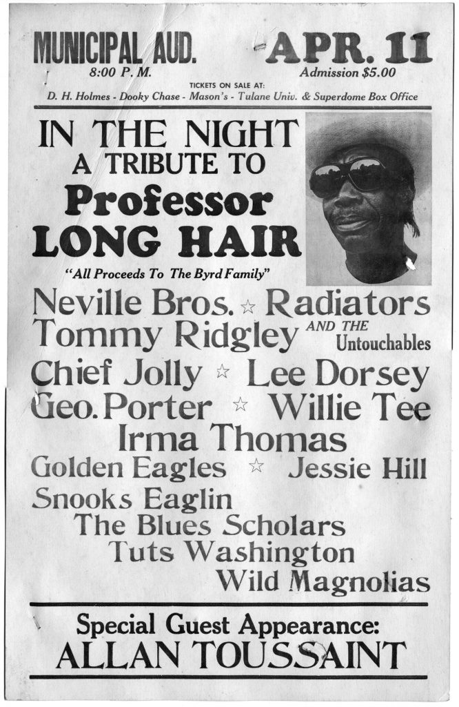A black and white photo of a poster advertising a tribute concert to Professor Longhair at the Municipal Auditorium. It lists who will be performing, and there are some big names like Irma Thomas, Radiators, and Allan Toussaint. Courtesy of The Historic New Orleans Collection.