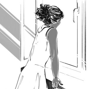 A grayscale illustration of a dark-skinned person looking out of the window. They are facing away from us and their hands are perched on the windowsill. Their hair is up in a ponytail and they're wearing a light dress. Illustration by Victoria Allen.